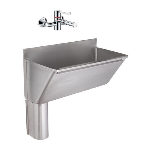Franke G22029L 800mm Stainless Steel Surgeons Scrub-Up Trough with Left-Hand Outlet